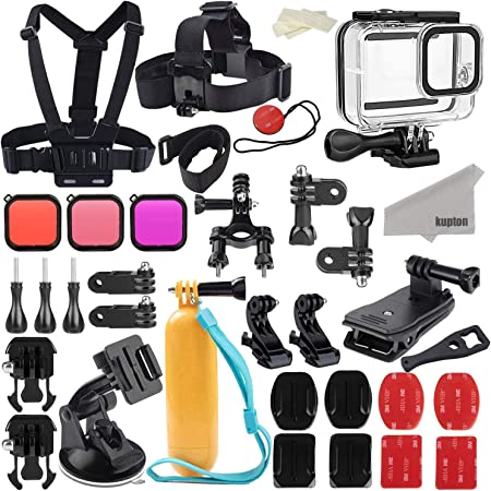 Amazon Com Kupton Accessories Kit Bundle Compatible With Gopro Hero 8 Black Waterproof Housing Filters Head Chest Strap Suction Cup Mount Bike Mount Floating Grip Accessory Compatible With Hero 8 Camera Photo