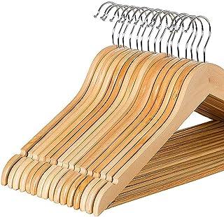BOBPB Lot de 20 cintres en bois avec encoches d'épaule et crochet en métal pour rangement de votre armoire - Utilisation a...
