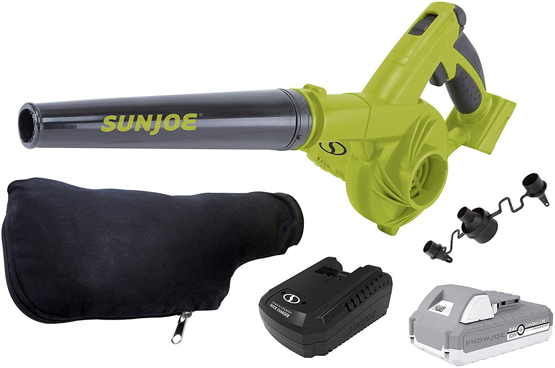 SUNJOE 24V-WSB-LTE 24-Volt iON+ 185 MPH 105 CFM Cordless Workshop Blower/Vacuum Kit w/ 2.0-Ah Battery, Charger, and 2 x Dust Bags : Garden & Outdoor