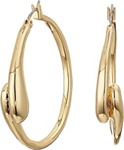 Shiny and Brushed Gold Tone Curved Hoop Earrings