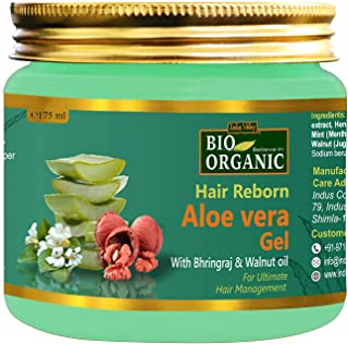 Indus Valley Bio Organic Hair Reborn Aloe Vera Gel With Bhringraj & Walnut Oil For Ultimate Hair Management (175ml)