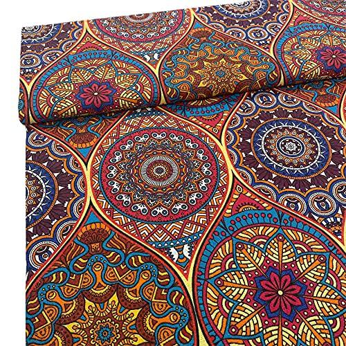 Kt KILOtela Stoff aus geharztem Leinen, für Tischdecke, schmutzabweisend, Kissen, Taschen, Länge 200 cm, Breite 140 cm, Mandala, mehrfarbig, 2 m