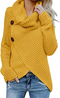 Huiyuzhi Womens Sweaters Cowl Neck Chunky Cable Knit Hooded Wrap Cardigan Pullover Sweater Coats with Button (S-XXL)