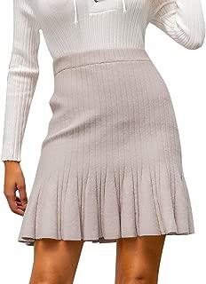MsLure Women's High Waist Ruffle Knit Stretch A-Line Mini Skirt