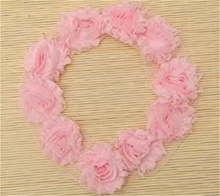 3 Yard Boutique Shabby Chic Fabric 3D Chiffon Rose Flower Lace Edge Trim Ribbon 6 cm Wide Vintage Style Edging Trimming Fabric Embroidered Applique Sewing Craft Wedding Bridal Dress Clothes(Pink)