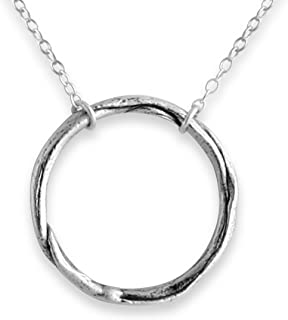 Sterling Silver Handcrafted Large Karma Ring Pendant Necklace (24)