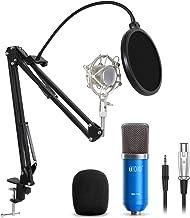 TONOR XLR 3.5mm Micrófono Condensador de Grabación para Computadora Podcast Estudio con Soporte de Micrófono Ajustable Suspensión y Kits de Micrófono Azul