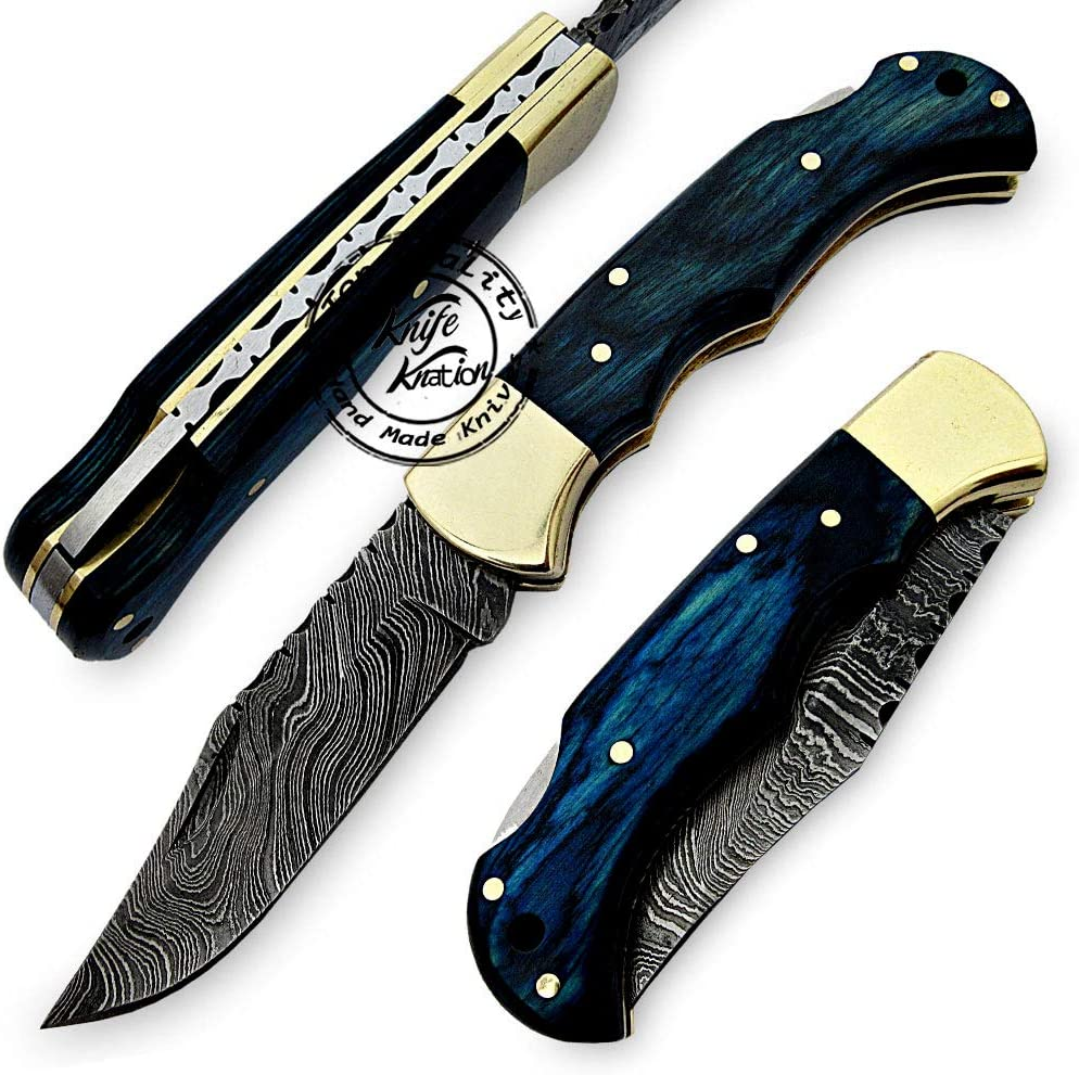 Blue Wood 6.5'' 100% Handmade Damascus Brand new Steel Selling and selling Pocket Folding Knif