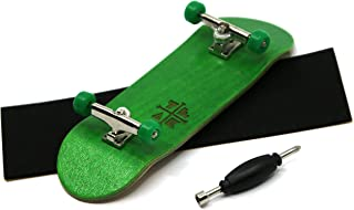 Teak Tuning Prolific Complete Fingerboard with Upgraded Components - Pro Board Shape and Size, Bearing Wheels, and Trucks - 32mm x 97mm Handmade Wooden Board - Four Wheel Clover Edition