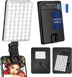 Neewer スマートフォン用LEDビデオライト 3つのライトモード/調整可能な明るさ/内蔵2000mAh充電式リチウム電池 クランプ付き iPhone Samsung Huawei およびその他のスマートフォンに対応