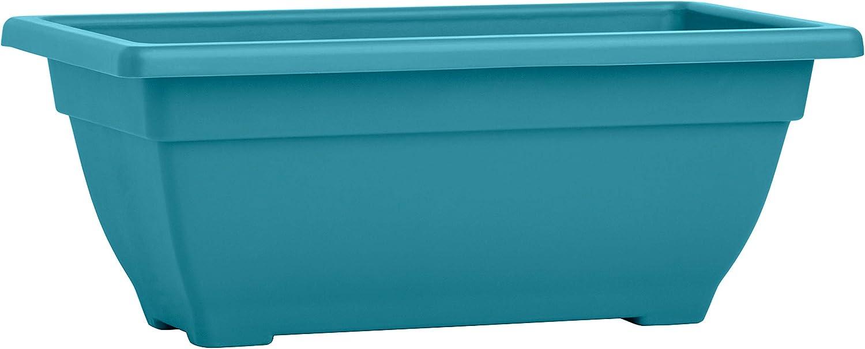 BackyardBounty Rectangle Planter Box, 16 Inch Indoor / Outdoor Rectangular Planter, Durable UV Resistant, 2 Gallon Plastic Window Box Trough, Use for Herbs, Succulents, Vegetables (Bora Bora Blue)