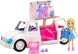 Polly Pocket Arrive in Style Limo Vehicle with 3-inch Polly Doll, 3 Hangers, Makeup Case, Shopping Bag, Romper, Robe, Slippers, Shoes, Dress & More, Ages 4 and Older [Amazon Exclusive]