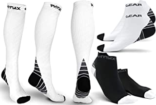Physix Gear Sport 3 Pairs Compression Socks for Men & Women 20-30 mmHg