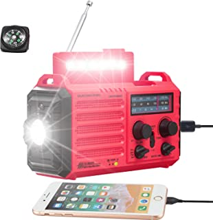 Solar Hand Crank Portable NOAA Weather Alert Radio,5-Way Powered AM/FM/SW Emergency Radio for Household&Outdoor,2500mAh Ba...