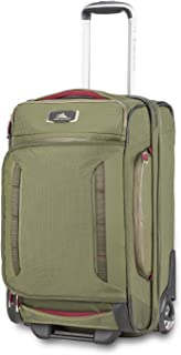 """High Sierra AT8 22"""" Carry-On Wheeled Duffle Upright, Olive/Cranberry"""
