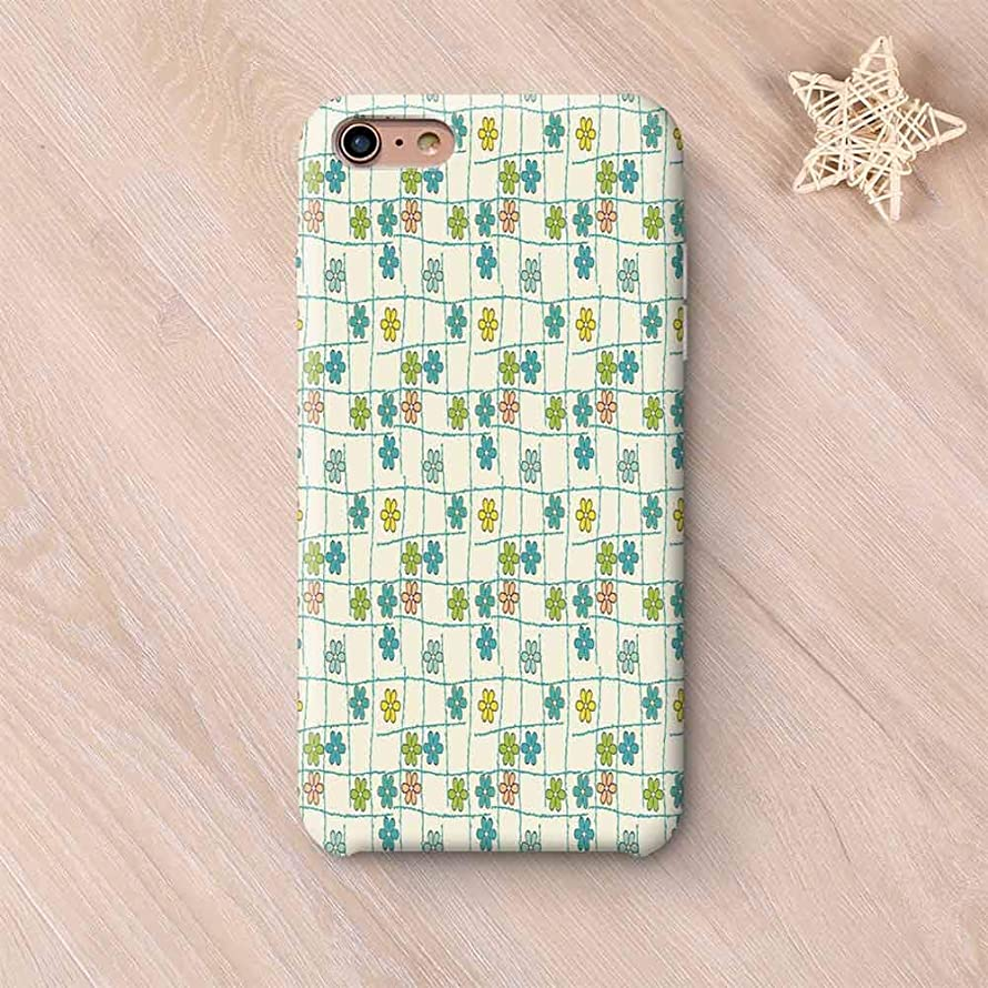 Geometric Stylish Compatible with iPhone Case,Floral Arrangement Inside Checkered Background Colorful Foliage Pattern Abstract Decorative Compatible with iPhone X,iPhone 6 Plus / 6s Plus