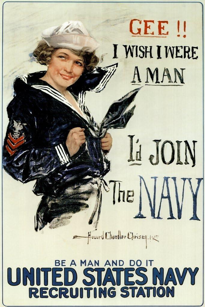 Gee I Wish I were A Man Id Join The Navy Recruiting Propaganda Cool Wall Decor Art Print Poster 12x18