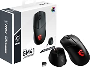 MSI Clutch GM41 Lightweight Wireless Gaming Mouse & Charging Dock, 20,000 DPI, 60M Omron Switches, Fast-Charging 80Hr Batt...