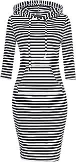 0243c16d04 MISSKY Women Pullover Stripe Pocket Keen Length Slim Sweatshirt Causal  Hoodie Dress
