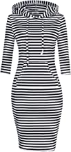 MISSKY Women 3/4 Long Sleeve Stripe Pocket Knee Length Slim Sweatshirt Casual Pullover Hoodie Dress