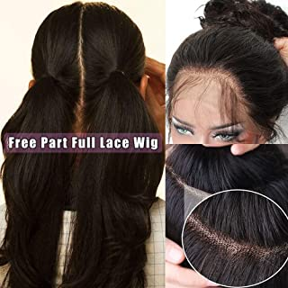 100% Brazilian Virgin Human Hair Glueless Full Lace Wigs Pre Plucked Long Silky Straight Lace Wig with Baby Hair Natural Free Part for Women 130% Denisity 18inch 1B-Off Black