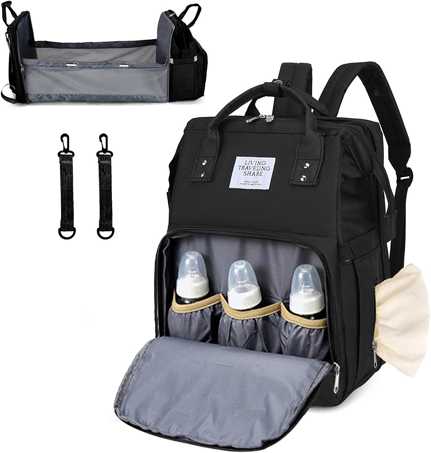 Baby Bag Backpack with Diaper Changing Station Stroller Straps Travel Mummy Backbag with Portable Nappy Bassinet Unisex