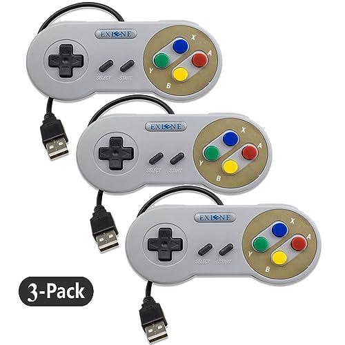 Exlene 3 Pack Retro USB SNES Super Nintendo Game Controller Gamepad Joystick pour Windows PC / MAC