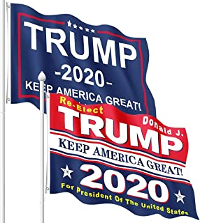 Diowner 2PCS Durable Flags 3x5 Feet Outdoor Keep America Great Flag, American Banner MAGA Flag for Front Yard Garden, Trum...