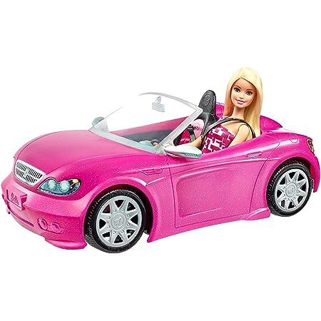 Barbie y su coche descapotable muñeca con coche, regalo para niñas y niños 3-9 años (Mattel DJR55)