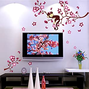 Wallpark Naughty Monkey Sleeping on Pink Peach Blossoms Flowers Tree Removable Wall Sticker Decal, Living Room Bedroom Home Decoration Adhesive DIY Art Wall Mural