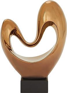 """Deco 79 96739 Heart Ceramic Copper Abstract Decor, 10"""" W x 14"""" H"""