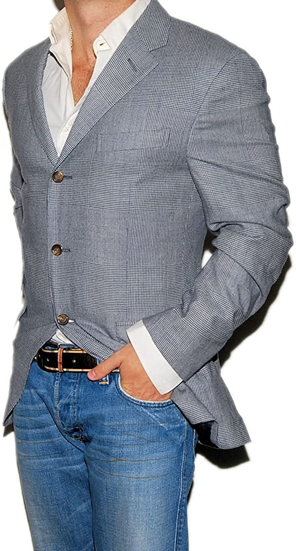 Polo Ralph Lauren Men Cashmere Blazer Sport Coat Navy Blue Glen Plaid Italy 40R $2,295