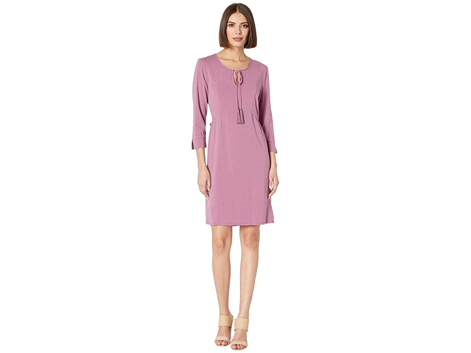 Mod-o-doc 3/4 Sleeve Spliced Neck Dress in Cotton Modal Spandex Jersey (Purple Rose) Women