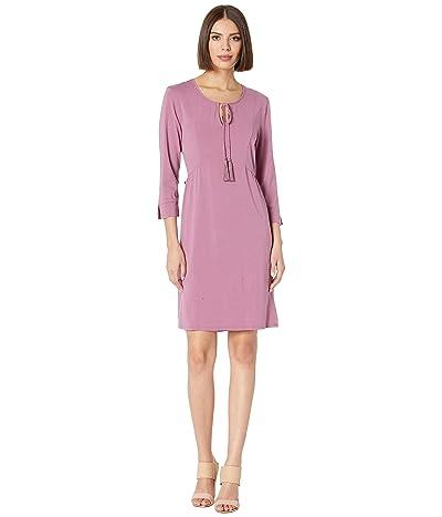 Mod-o-doc 3/4 Sleeve Spliced Neck Dress in Cotton Modal Spandex Jersey (Purple Rose) Women
