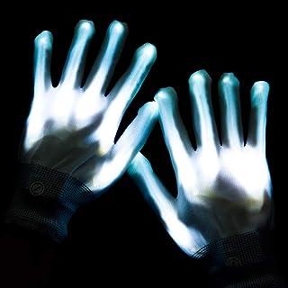 Lychee LED Leucht Handschuhe für Kinder & Erwachsene,6 Blinkmodie,Skeleton Leuchtende Handschuhe Party /Tanzen/Weihnacht/Halloween/Clubs (Weiß)