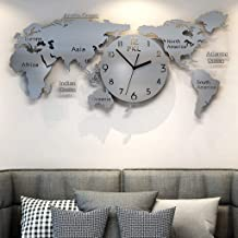 World map wall clock Living room Acrylic clock Sofa background wall Office wall decoration clock 30 inch (Color : Silver, ...
