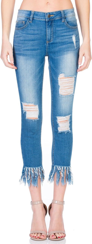 Cello Jeans Mid Rise Fringe Hem Crop Skinny