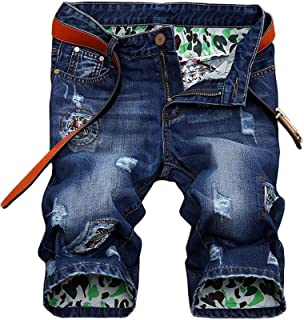 Men's Moto Biker Jeans Shorts Ripped Distressed Denim Shorts with Broken Hole