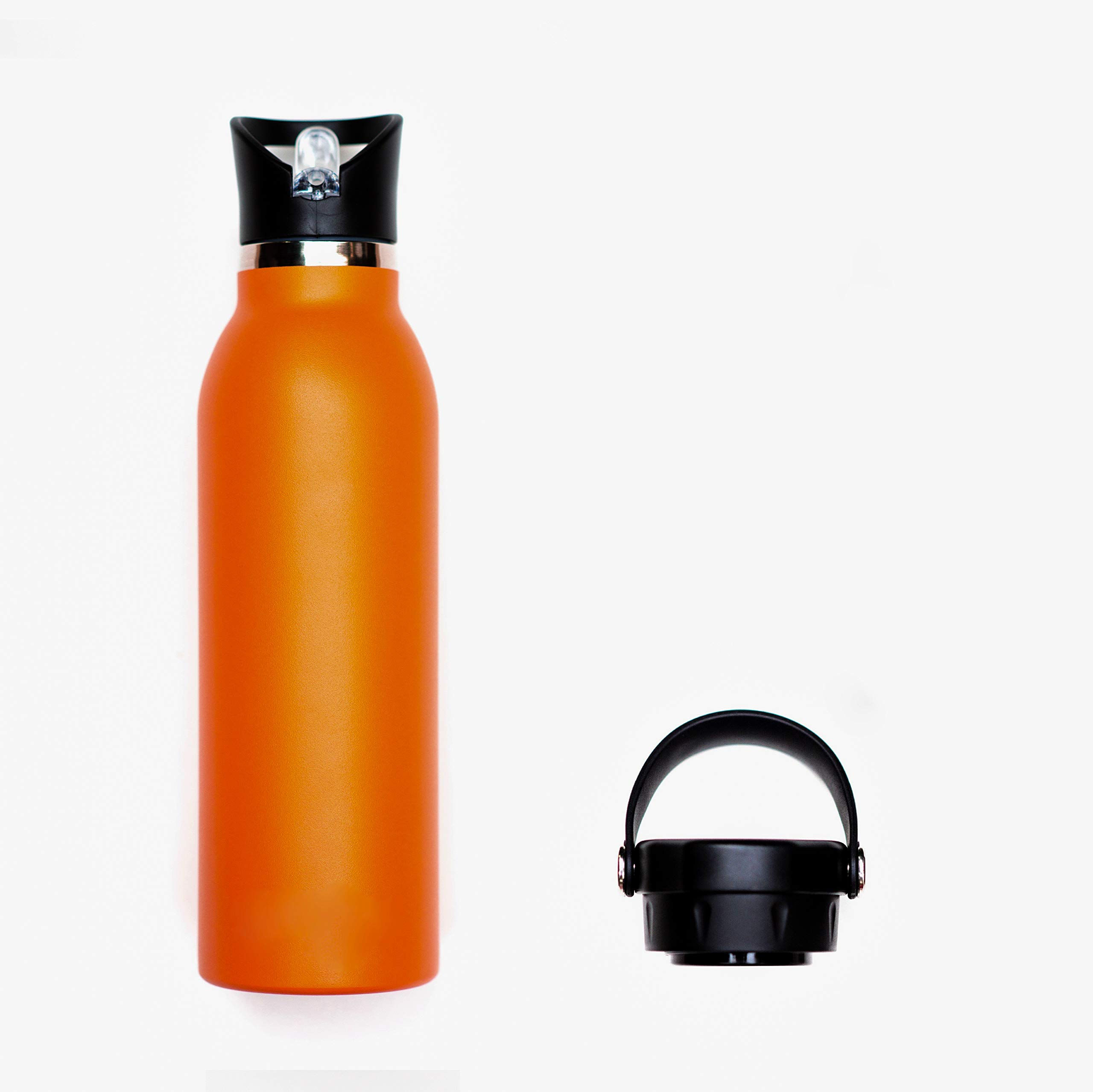 Bend It Stainless Steel Orange Water Bottle Flask 21 Oz Double Wall Vacuum Insulated Leak Proof Standard Mouth With 2 Bpa Free Sport Caps Flip Top Hydro Straw Lid Flex Cap
