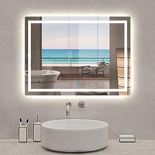 Xinyang Miroir de Salle de Bain Miroir de courtoisie avec éclairage LED et antibuée 80x60cm réversible IP44 Commande par e...