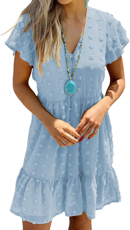 Ecrocoo Women's Swiss Dot A-Line Dress Crew Neck Flare Short Sleeve Tie Waist See-Through Mesh Mini Dress