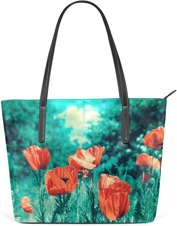 8ec78ac2f7e78 COOSUN Vintage Vintage Vintage Poppies Field PU Leder Schultertasche  Handtasche und Handtaschen Tasche f uuml r Frauen B077RYN3FL da98fd