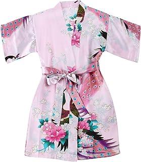 comprar comparacion Chicas bata kimono satén traje traje ropa de noche con pavo real y flores