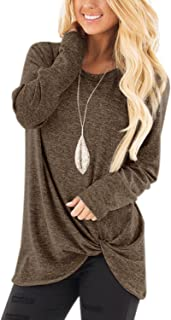 YOINS Women Tops Crossed Front Twist Design Round Neck Long Sleeves Knits Tees Loose Fit Irregular Hem Fashion T-Shirts