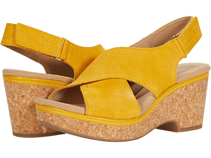 70s Clothes | Hippie Clothes & Outfits Clarks Giselle Cove Golden Yellow Leather Womens Shoes $94.95 AT vintagedancer.com