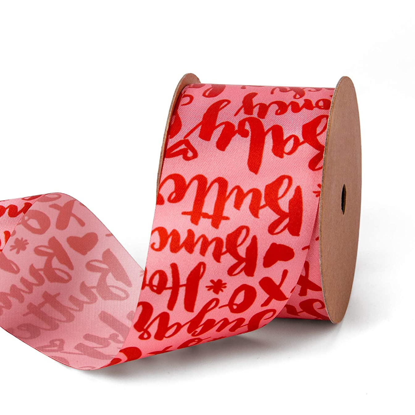 LaRibbons 1 Inch Red Valentine's Day Ribbon - Sweet Letters Printed for Decoration, Craft, Gift Wrappping - 10 Yard/Spool