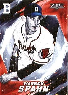 2017 Topps Fire #57 Warren Spahn Boston Braves Baseball Card