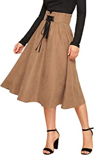 Women's High Waist Flared Pleated Lace up Midi Skirt