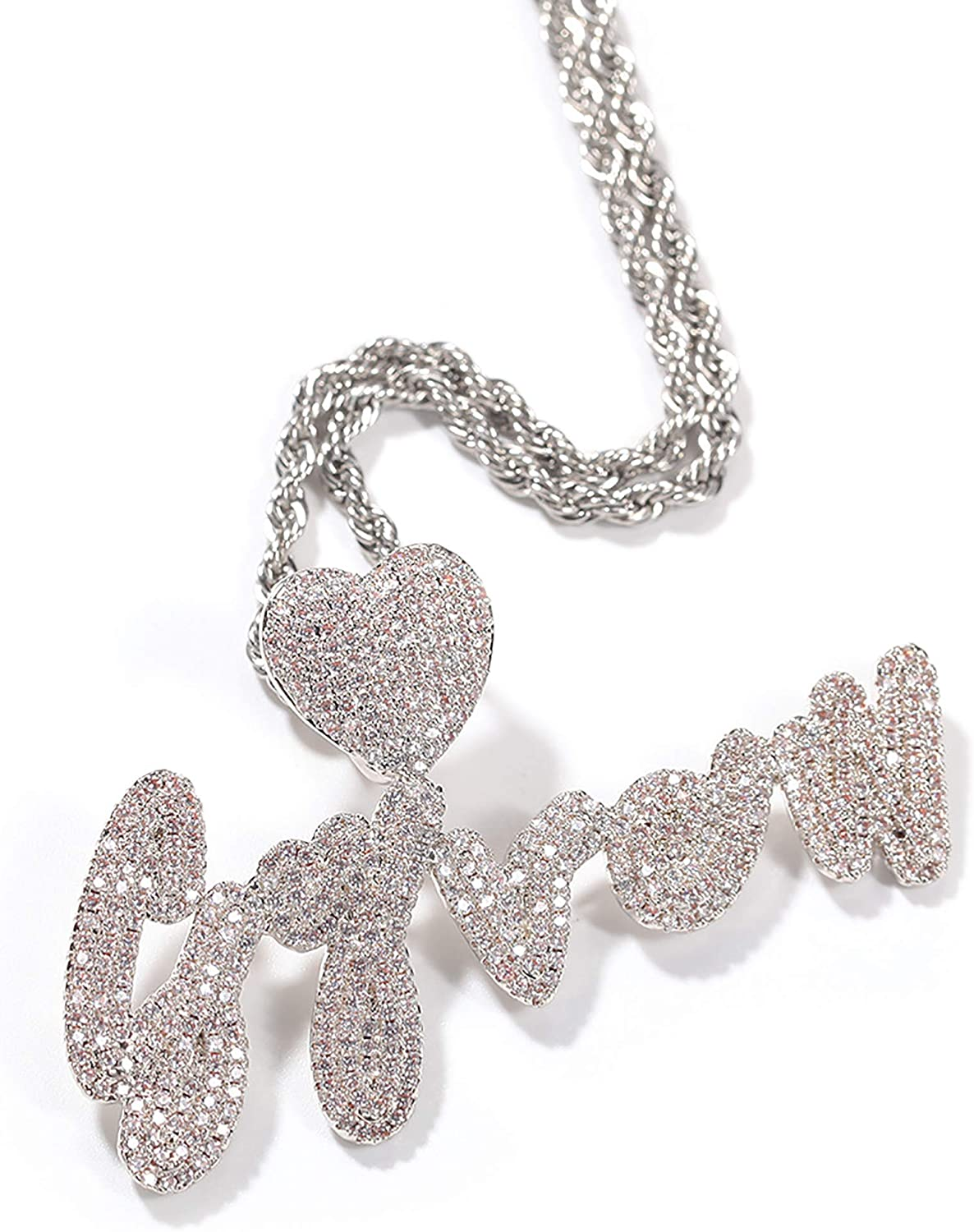 Max 78% OFF Custom Heart Hip-Hop Bubble Necklace Initial A-Z Ranking TOP9 Name I