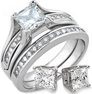 Wedding Rings for Women Stainless Steel Bridal Sets Wedding Rings Engagement Wedding Jewelry 1 Carat Princess Cut Cubic Zirconia and Matching Sterling Silver Stud Earrings